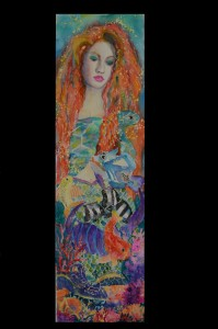 watercolor,kathy bensabat,mermaid, tropical reef
